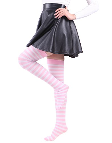 dc02bb4b7860 HDE Women's Plus Size Striped Stockings Thigh High Over the Knee OTK Sheer  Nylons (Pink