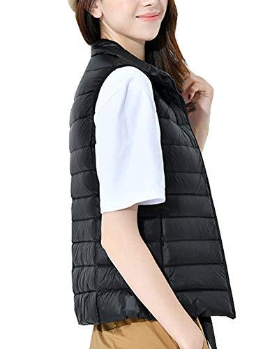 Winter Vest Lightweight Women Stand Packable Sleeveless Warm Black Coat Collar Jacket qfftxPFw