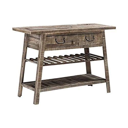 Ashley Furniture Signature Design - Camp Ridge Console Sofe Table & Wine Rack - Reclaimed Solid Wood in Gray Washed Finish - Antique Black Drawer Pulls