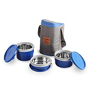 Cello Max Fresh Lunch Box Stainless Steel Inner, 3 Piece