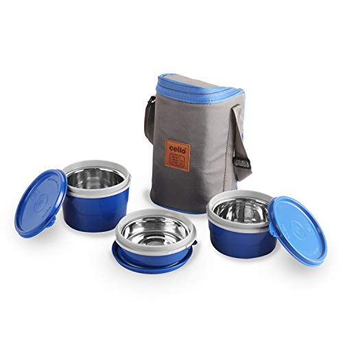 Cello Max Fresh Exclusive Hot Wave Lunch Box Stainless Steel Inner, 3 Piece (Blue) (3 Container) Price & Reviews