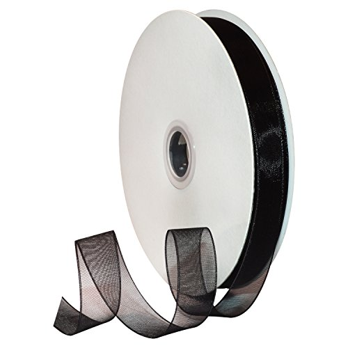 Morex Ribbon 91803/100-613 Organdy Nylon Ribbon, 5/8-Inch by 100-Yard, Black