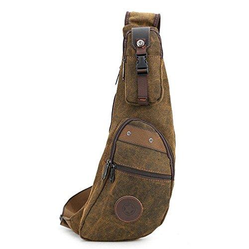 Sunbobo Man In Casual Pocket Waterproof Zipper Chest Canvas Shoulder Bag Brown