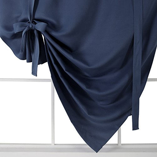 lowest price deconovo rod pocket blackout curtain tie up shade window panels for living room. Black Bedroom Furniture Sets. Home Design Ideas