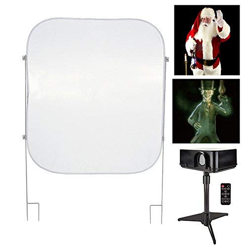 Mr. Christmas - Christmas & Halloween Indoor/Outdoor Virtual Holiday Projector Kit with Pop Up Screen]()