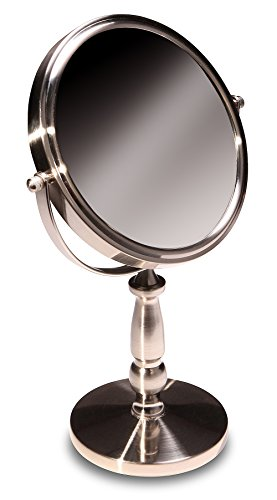Tabletop 5X Magnifying Vanity Mirror With Brushed Stainless Finish by Finishing - Test Mirror Online Image