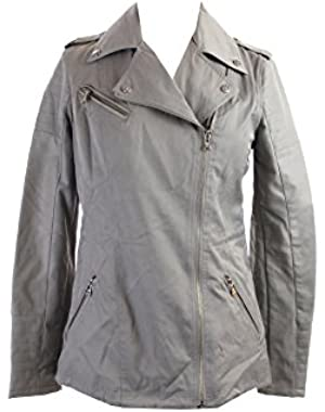 Guess Grey Mixed-Media Faux-Leather Moto Jacket Xs