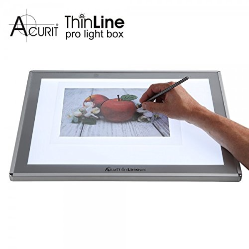Acurit Thin Line Professional Light Box Tracer for Drawing, Solid Aluminum Tracing Tablet, Dimmable LED Light Pad, Optical Quality Glass Surface, Sketching Animation, Designing, Photography - 6x9''
