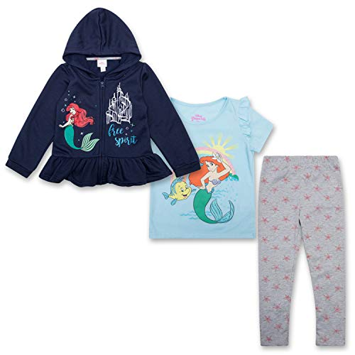 (Disney Toddler Girls Ariel Clothing Set The Little Mermaid Hoodie, T-Shirt & Sweatpants Set (Multicolored, 5T))