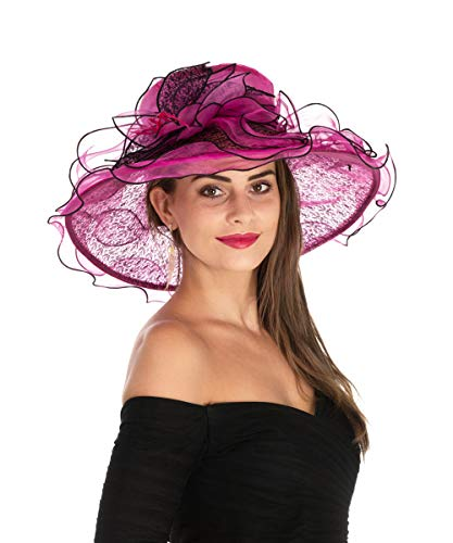 Lucky Leaf Women Kentucky Derby Church Beach Hat Wide Floral Brim Flat Hat with Bowknot (Lace Black/Rose -