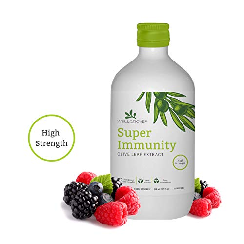 WellGrove Super Immunity Olive Leaf Extract | All-Natural Vegan Antioxidant Dietary Supplement | Immune Support | Berry 500 ML