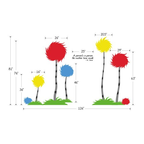 "Designer Playground Dr Seuss Inspired Trufulla Tree With Cotton Puff And A person's quote Vinyl Wall Decal (126""W X 81""H) K141 Red Yellow Blue by DESIGNER PLAYGROUND (Image #2)"