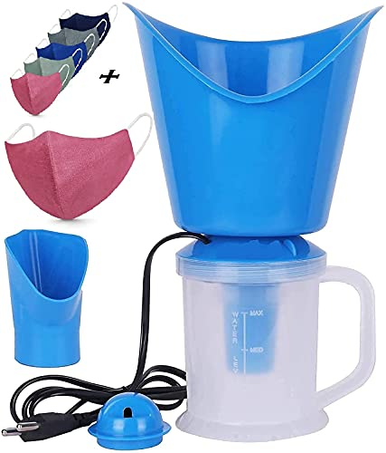 XIPHIAS Face, Nose, and Cough Steamer 3 in 1 Plastic Steam Vaporizer, Nozzle Inhaler, Facial Sauna, and Facial Steamer Machine for Adults and Kids (Multicolor), [Vaporizer Machine + 3 Cotton mask]