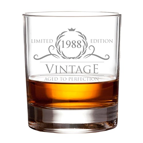 1988 30th Birthday Gifts for Women and Men Whiskey Glass, 30 Anniversary Gift for Husband & Wife, 15 oz Whisky Glasses, Gift Ideas for Mom, Dad, Parents - Scotch, Bourbon, Rum w/ Rocks or Stones