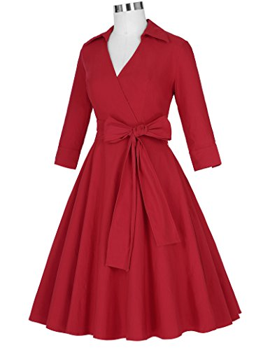 pour Cocktail Vintage Rouge Swing BP95 Womens Poque style 1950 robe Belle EYq6xgwa