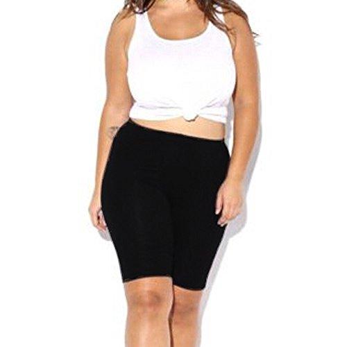 JJLIKER Women High Waist Elastic Pants Knee Length Shorts Stretch Skinny Yoga Fitness Sports Running Sweat Leggings Black
