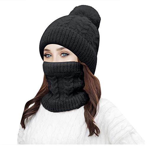 MiMiey Warm Winter Lässige Strickmütze Kopfbedeckung Beanie Hat Cap Warmer Pferdeschwanzhut Für Damen Im Freien Herbst