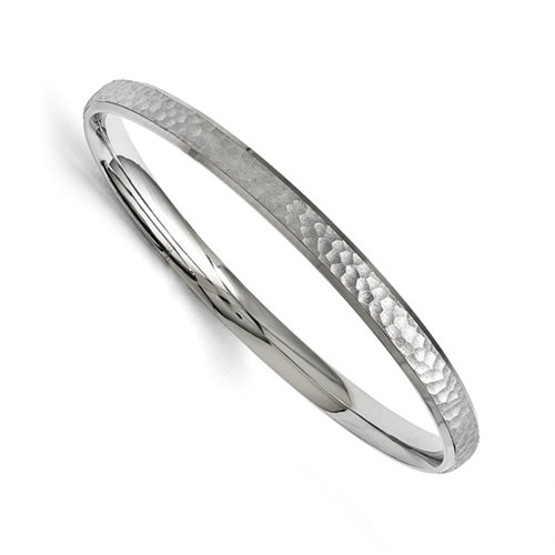 Stainless Steel Polished And Laser Cut Hammered Bangle ()