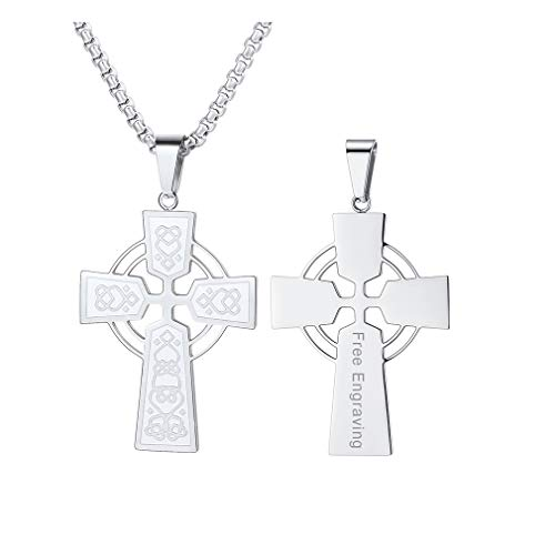 FaithHeart Custom Engraved Men Irish Knot Celtic Cross Pendant Necklace,22 Inches Box Chain, Stainless Steel Christian Jewelry (Silver)