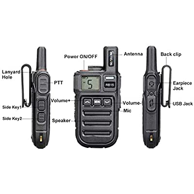 Retevis RB15 Rechargeable Walkie Talkies Long Range UHF FRS 22 Channel Small 2 Way Radio Vibration Hands Free Emergency Alarm Two Way Radio (3 Pack): Car Electronics
