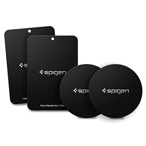 Spigen Kuel A210 Metal Plates for Magnetic Car Mount Phone Holder QNMP Compatible [4 Pack - 2 Round, 2 Rectangle] - Black
