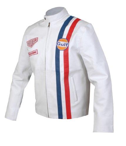 Leatherly Veste Homme Le Mans Steve Mcqueen Gulf blanc Faux (synthétique) Cuir Veste