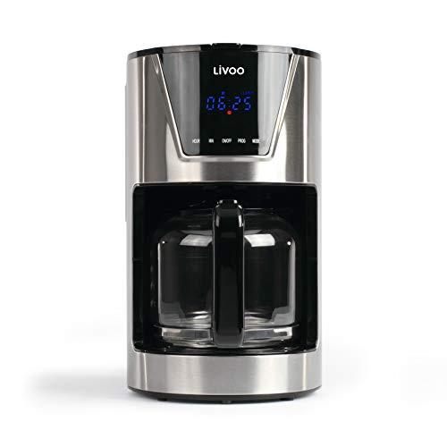 LIVOO DOD172 – Cafetera con filtro programable, capacidad de 1,5 L, 12 tazas, jarra de cristal, selector de aromas…