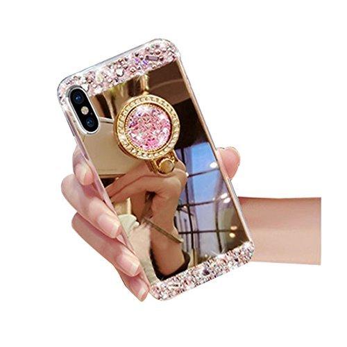 iPhone X Luxury Rhinestone Makeup Case,Auroralove iPhone X Handmade Bling Diamond Soft TPU Mirror Glass Case for Girls Women with Detachable Ring Stand-Gold