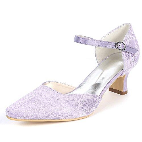 Mujeres Hecho A Las Dedo Redondo De Satén tacones Seda Boda Altos 5cm Flores yc Purple Cordón 5 Pie Zapatos Del L Mano xIZvX6q