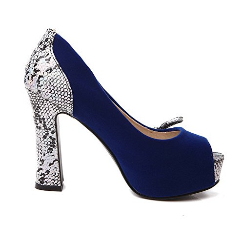 Balamasa Mujeres Cobra Spun Gold Bowknot Platform Imitated Leather Pumps-Zapatos Darkblue