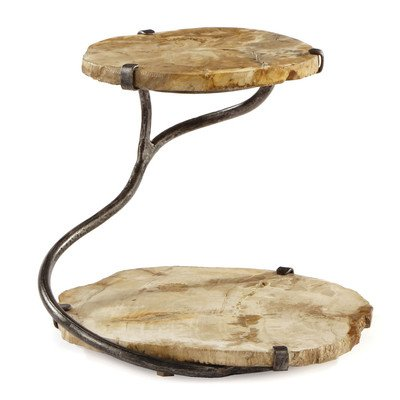 Napa Home & Garden 2-Tier Petrified Wood and Iron Stand