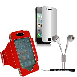 Extreme Sports Exercise Stretchy Red Armband for Apple iPhone 5s, 5c, 5, 4s, 4 Smartphones + HD Earbuds (3.5mm Jack)