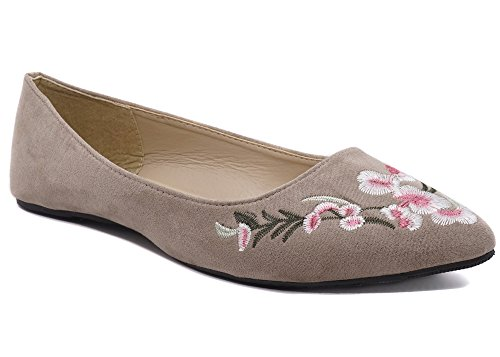 Charles Albert Women's Pointy Round Toe Ballerina Floral Flats Shoes (9, Taupe) (Brown Toe Pointy)
