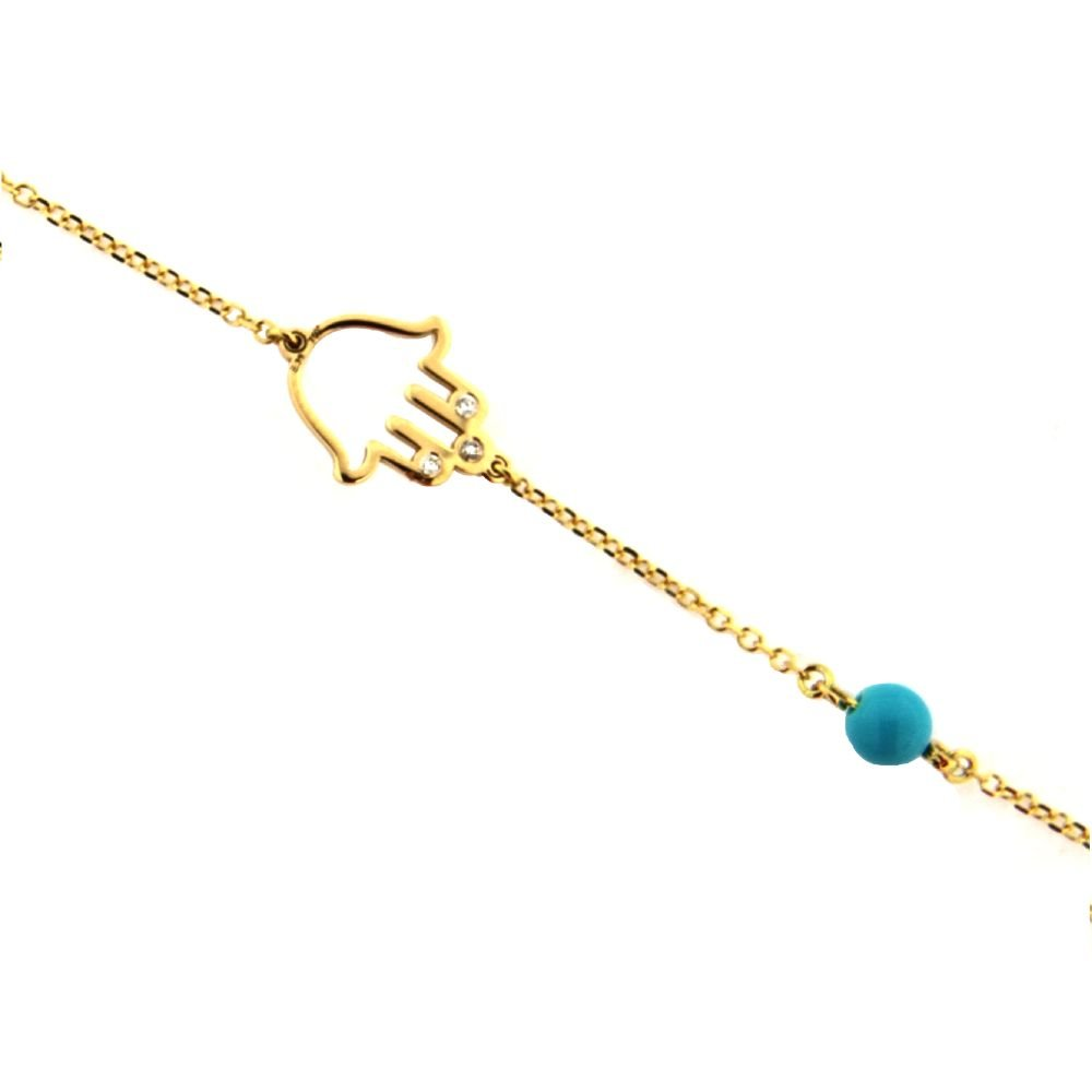 18 K Yellow Gold Open Hamsa Hand with Three Diamonds and one Paste Turquoise Bead 7 inches Bracelet with extra ring at 6.25 inches Total Diamond Weight 0.018