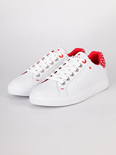 Casual Leather Jeans 79a00120 Sneaker White Time And Code Free Red Woman Shoes Trussardi 0E4xf0w