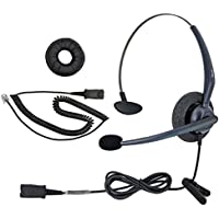 DailyHeadset RJ9 NC Mono Office Phone Corded Headset for Analog Business IP Office Landline Phone Aastra AltiGen Avaya Digium Mitel Nortel Networks Polycom ShoreTel Packet 8 TalkSwitch Telephones
