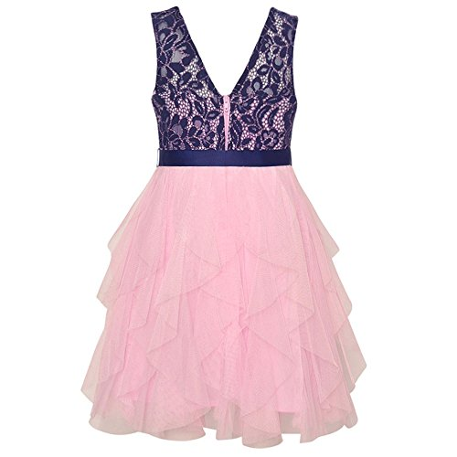 48048cb6f5d Amazon.com  Rare Editions Little Girls Lace Navy Pink Cascade Ruffle  Occasion Dress 4  Clothing