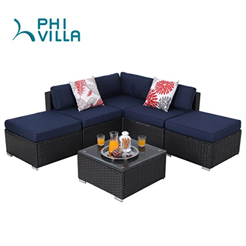 PHI VILLA 6-Piece Outdoor Rattan Sectional Sofa- Patio Wicker Furniture Set, (Set Wicker Sofa)