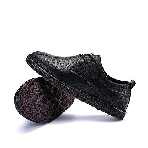 Head Sole Con Eu Planos Derby color Hombres Cordones Ocasionales Zapatos Negro Tamaño Sodt De Black Qiusa Round Brown Para 42 Negocios Yv7FBqH