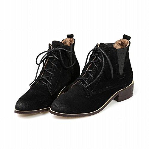 Mee Shoes Damen Niedrig mit Schnürsenkel ankle Boots Schwarz