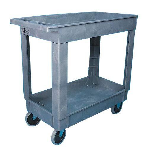 Rubbermaid 640-4520-88-BLA HD 2-Shelf Utility Cart with Medium Lipped Shelf, Black, 45.25