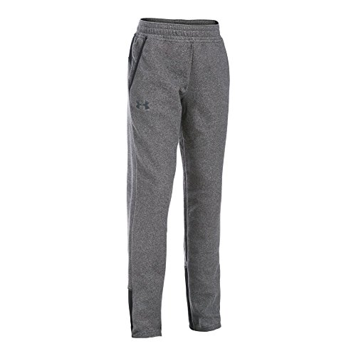 Under Armour Girls' ColdGearInfrared Survivor Fleece Pants, Black/Stealth Gray, Youth Small