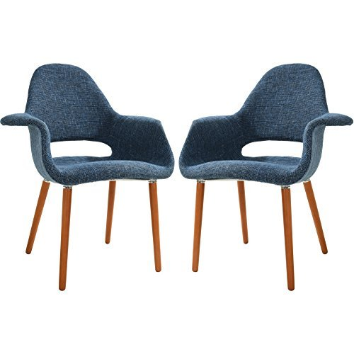 POLY & BARK EM-141-BLU-X2 Dining Chair, Set of 2, Blue