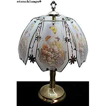 Butterfly And Roses Touch Lamp With Antique Brass Base Table Lamps Amazon Com