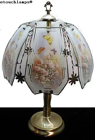 Butterfly and Roses Touch Lamp with Antique Brass Base
