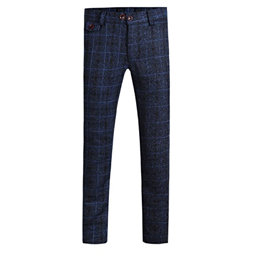 Cloudstyle Mens Pants Slim Fit Flat Front Plaid Stripe Comfort Suit Pant Dress Trousers,Dark Blue,Medium(33W נ30L) (Plaid Blue Pants)