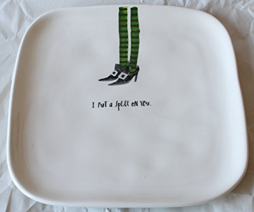 (Rae Dunn Magenta Ceramic Halloween Salad Appetizer Square Plate with Witch Legs Design - I Put a Spell on)
