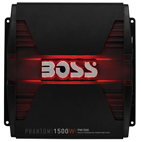 Boss Audio Systems PM1500 - Phantom 1500 Watt, 2 4 Ohm Stable Class AB, MoNOblock, Mosfet Car Amplifier with Remote Subwoofer Control