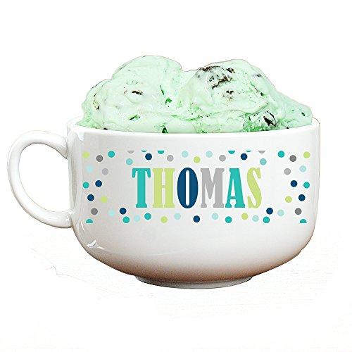 GiftsForYouNow Personalized Polka Dot Ice Cream Bowl, Boy
