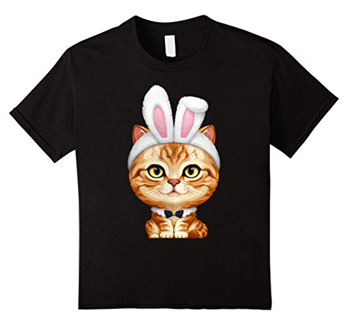 Kids Orange Tabby Cat in the Easter Bunny Costume T-Shirt 6 Black (Black Cat Costume Ideas)